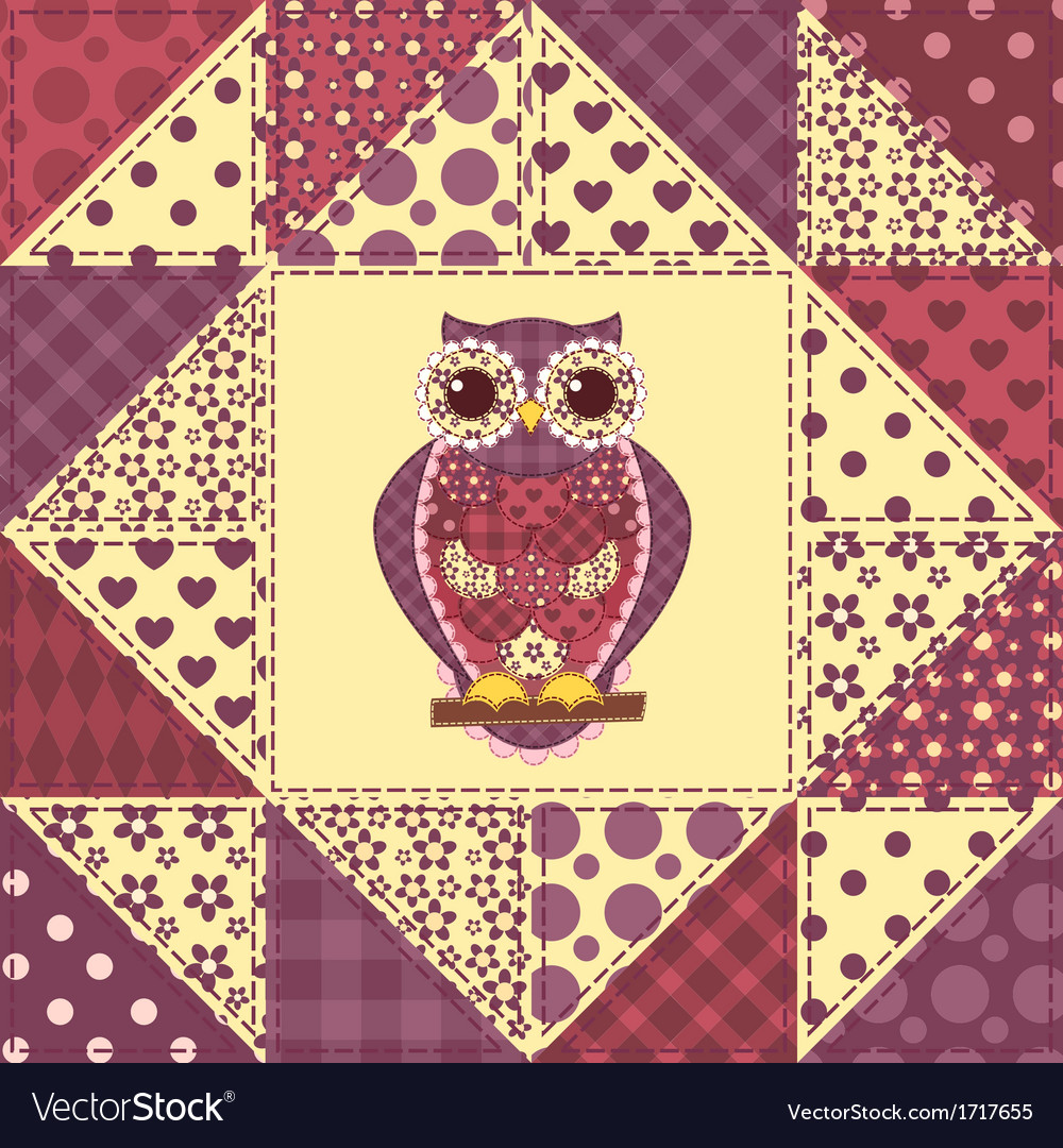 Seamless patchwork owl pattern 2 vector | Price: 1 Credit (USD $1)