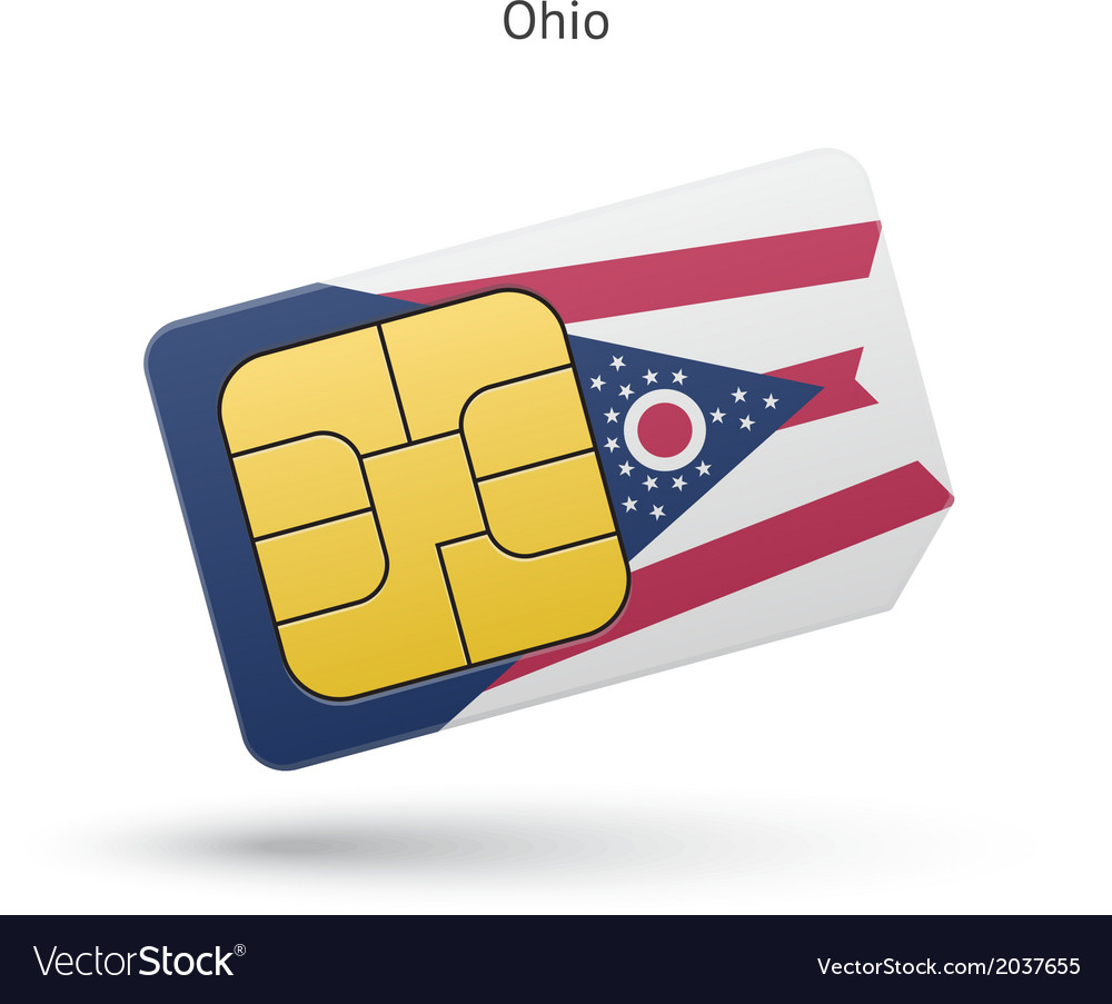 State of ohio phone sim card with flag vector | Price: 1 Credit (USD $1)