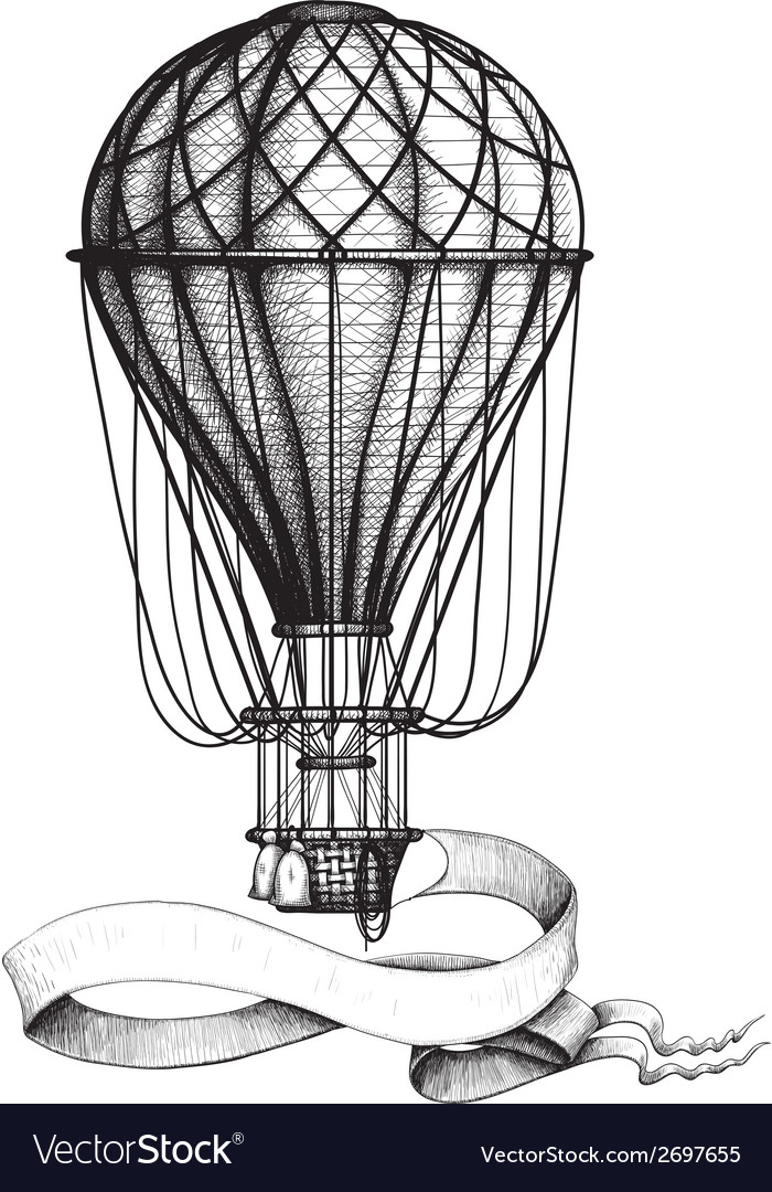 Vintage hot air balloon with banner vector | Price: 1 Credit (USD $1)