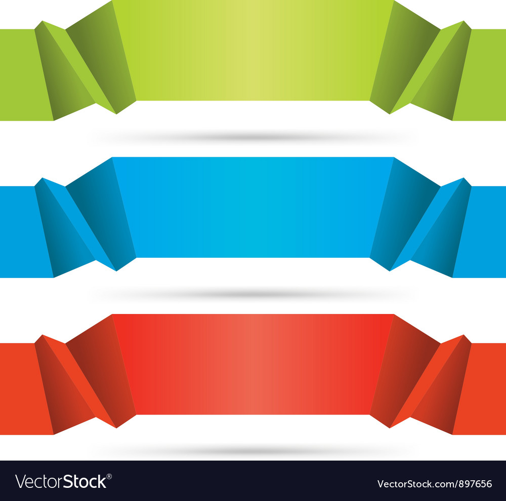 Abstract origami web site headers set vector | Price: 1 Credit (USD $1)