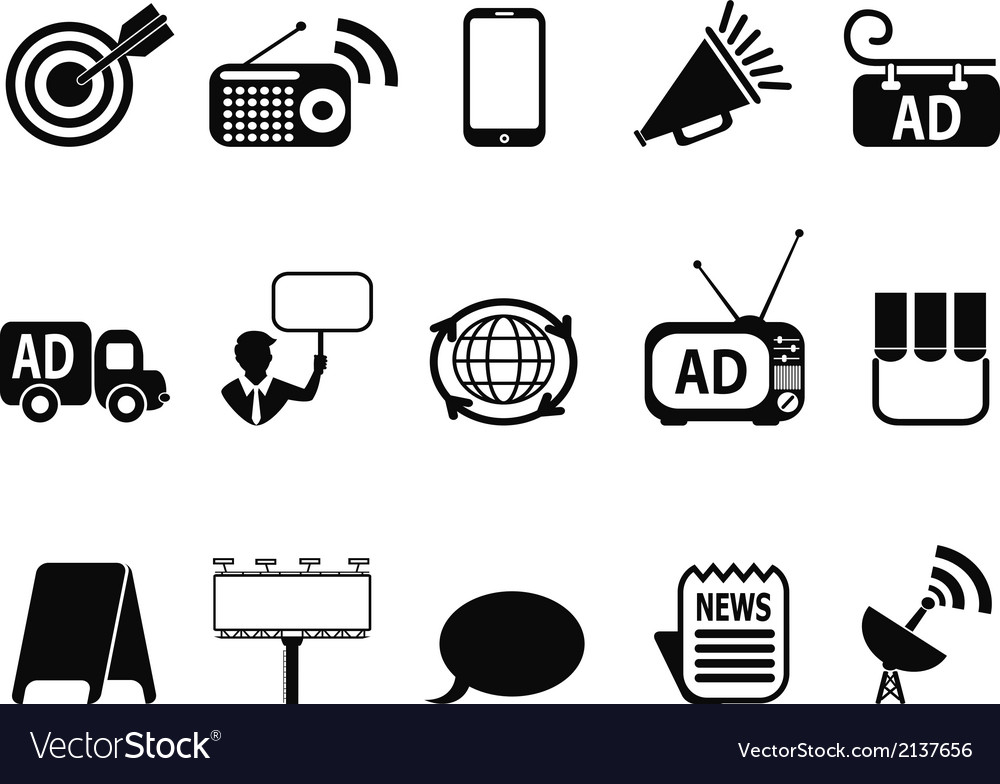 Advertisement icons set vector | Price: 1 Credit (USD $1)