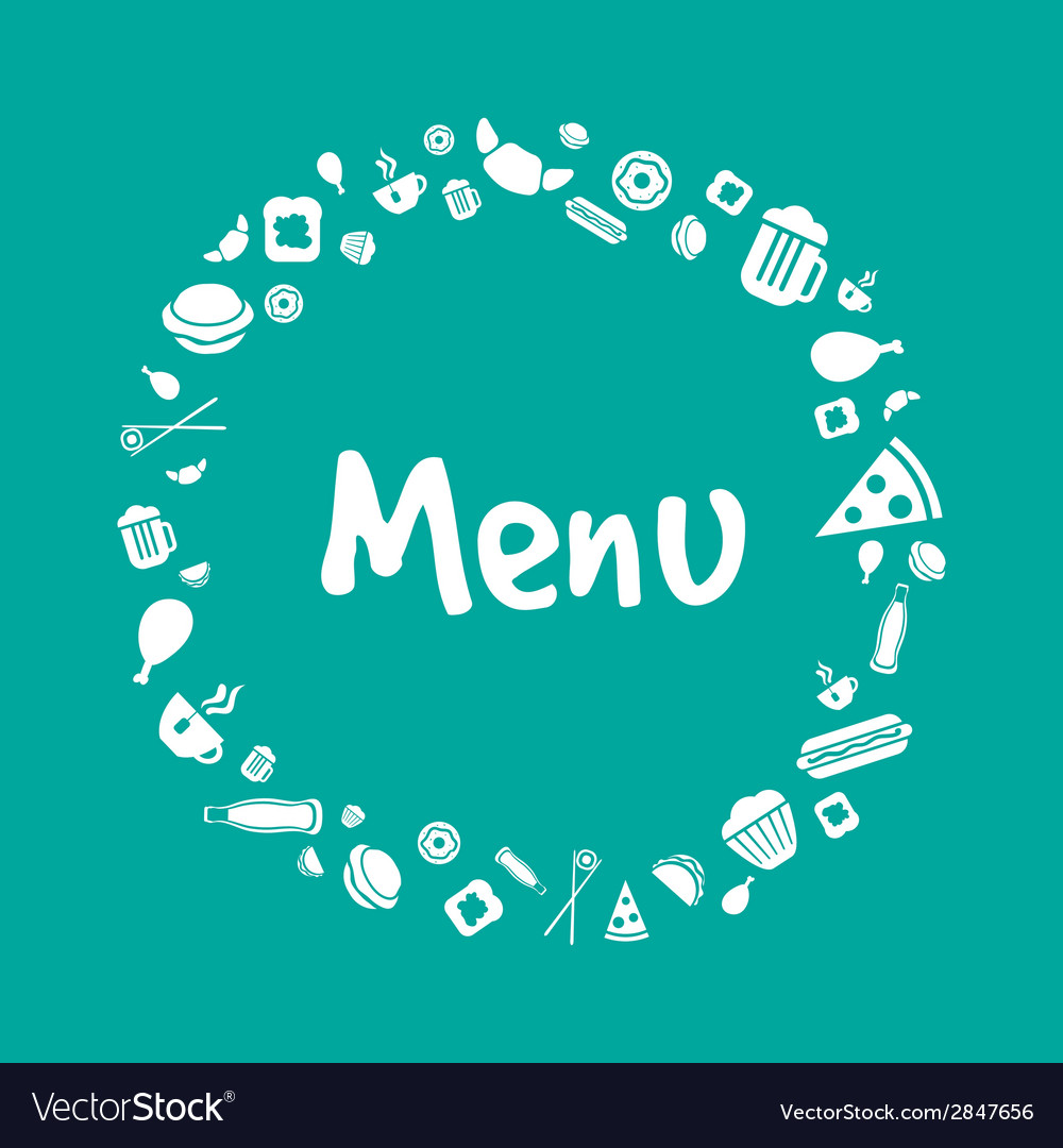 Blue menu cover design with food icons set vector | Price: 1 Credit (USD $1)