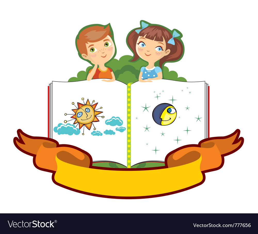 Boy girl children book isolated vector | Price: 3 Credit (USD $3)