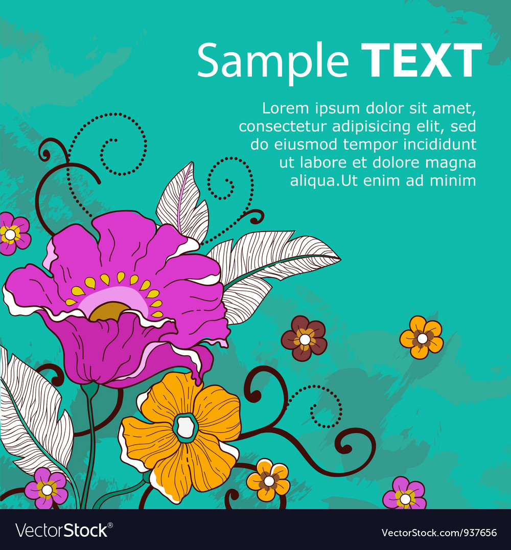 Card with flowers grunge vector | Price: 1 Credit (USD $1)