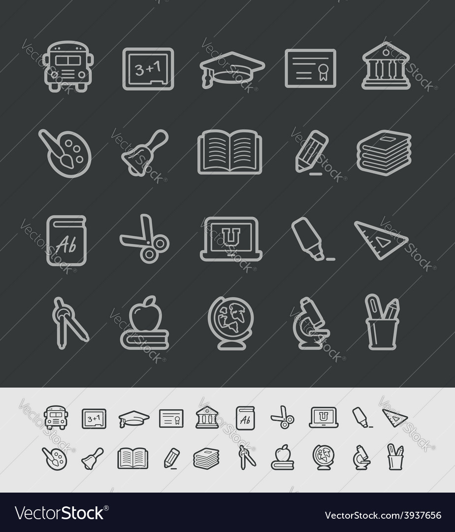 Education icons black background vector | Price: 1 Credit (USD $1)