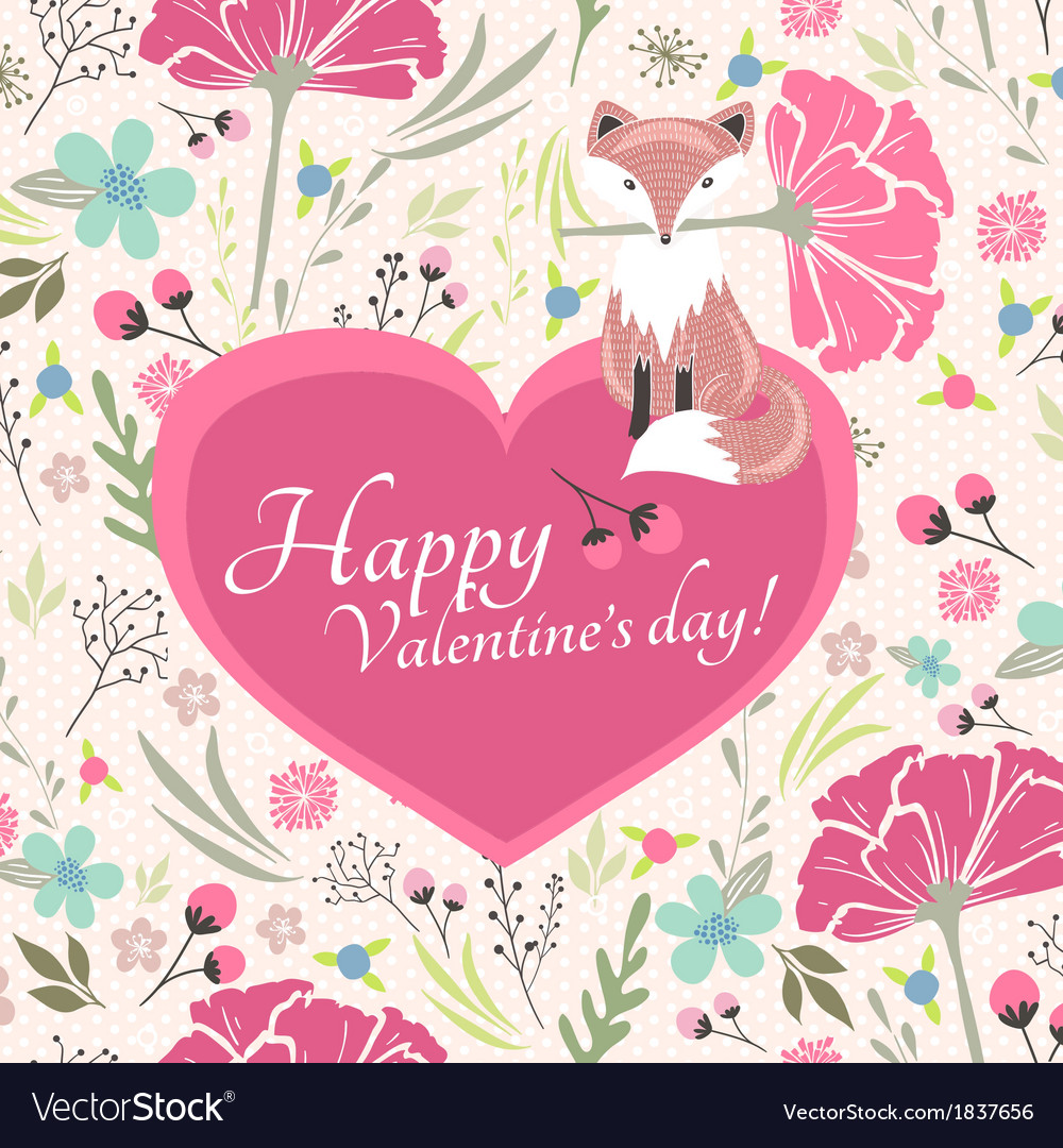 Floral valentines day card with cute little fox vector | Price: 1 Credit (USD $1)