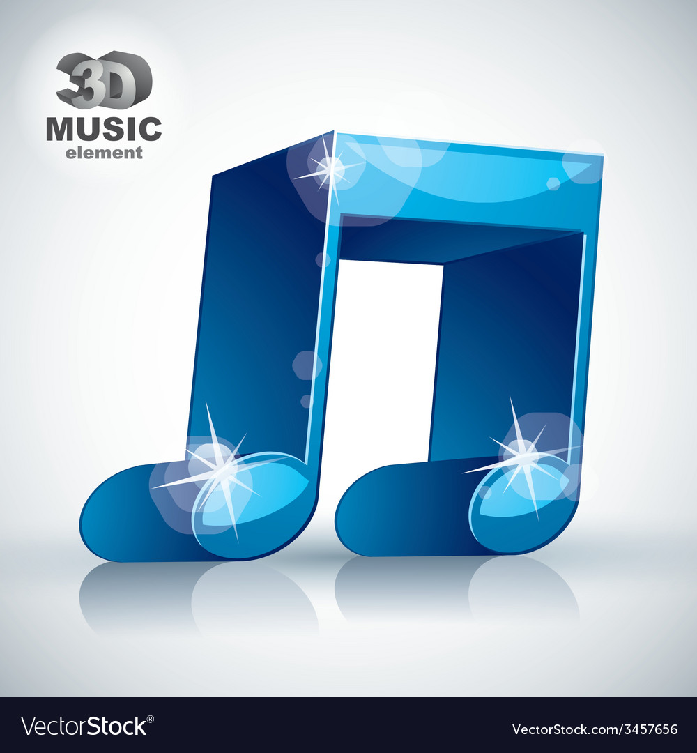 Funky blue double musical note 3d modern style vector | Price: 1 Credit (USD $1)