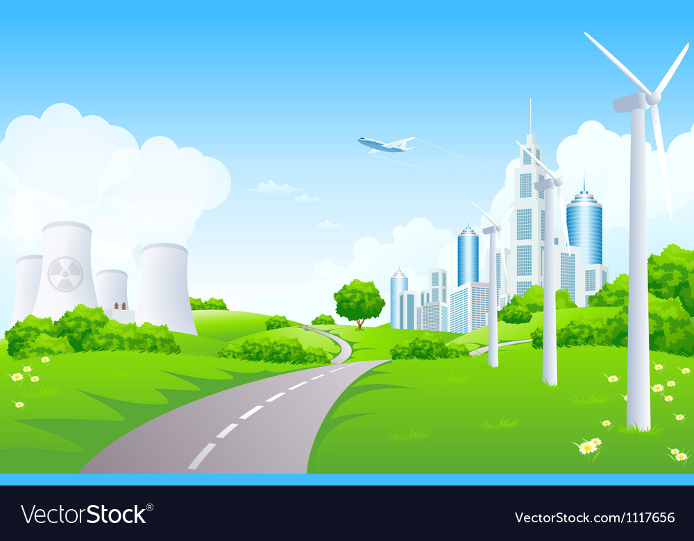 Green landscape with power plants vector | Price: 3 Credit (USD $3)