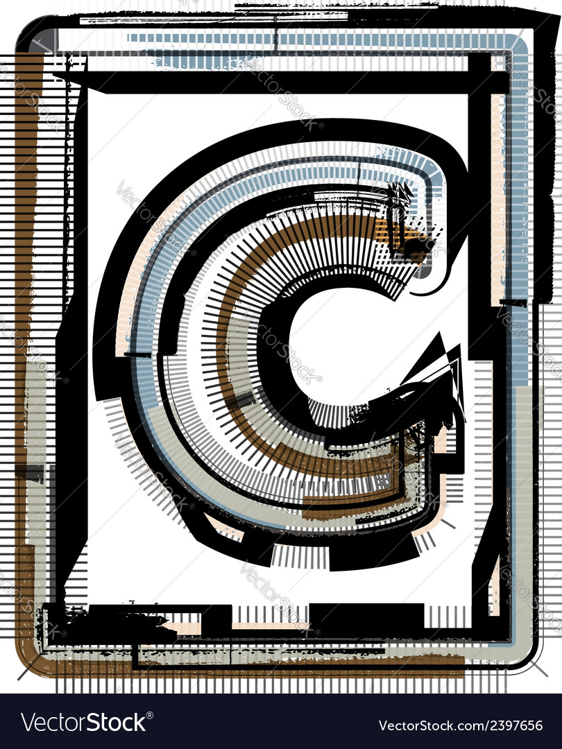 Grunge font letter c vector | Price: 1 Credit (USD $1)