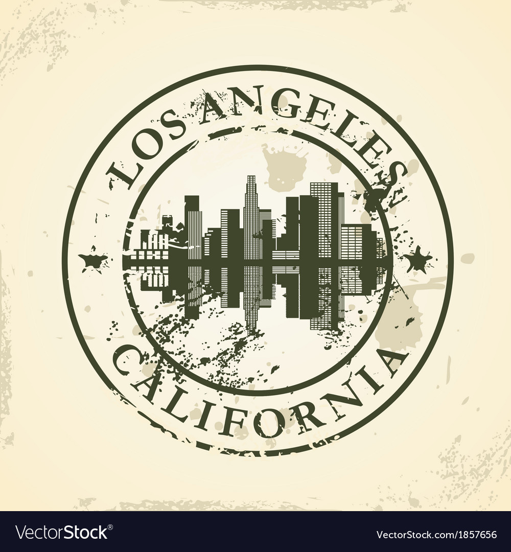 Grunge rubber stamp with los angeles california vector | Price: 1 Credit (USD $1)