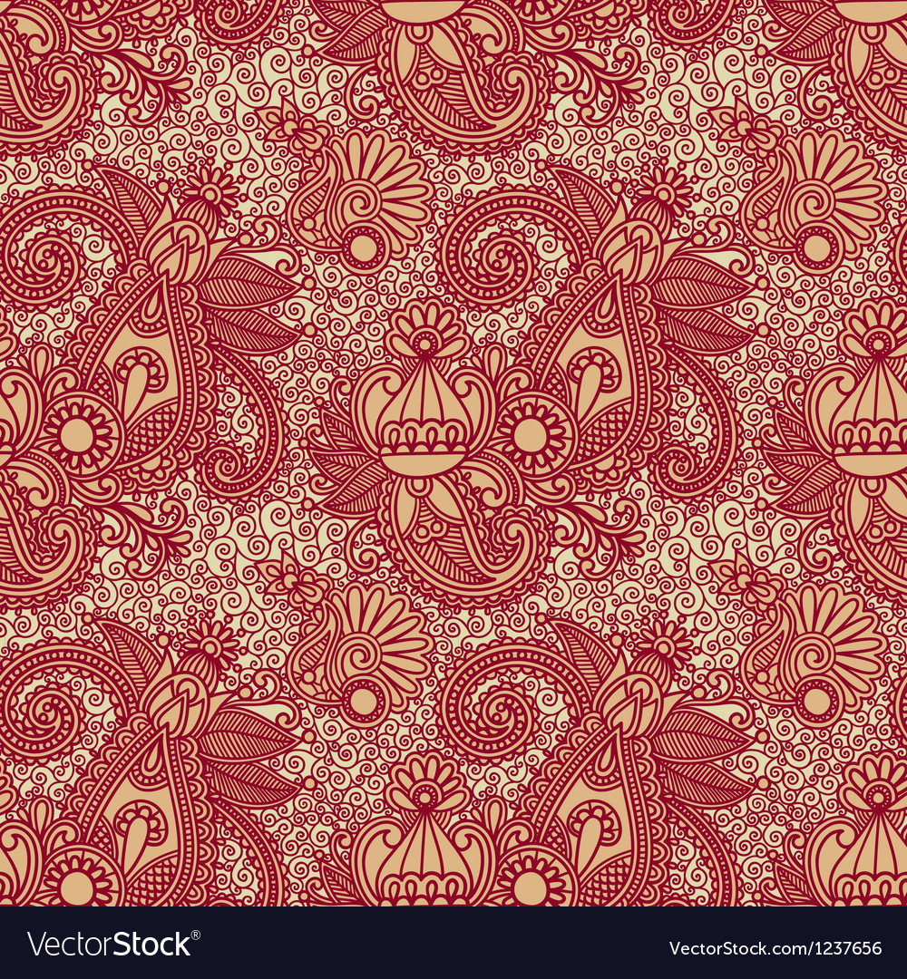 Hand draw ornate floral vintage seamless pattern vector | Price: 1 Credit (USD $1)