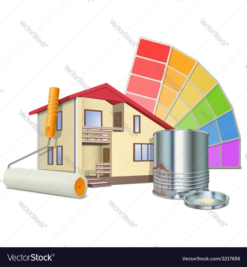 Painting concept with house vector | Price: 1 Credit (USD $1)