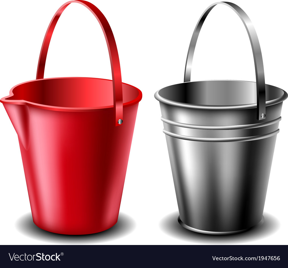 Plastic and metal bucket set vector | Price: 1 Credit (USD $1)