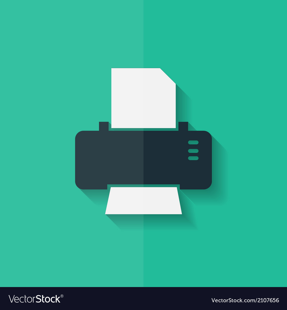 Printer web icon flat design vector | Price: 1 Credit (USD $1)