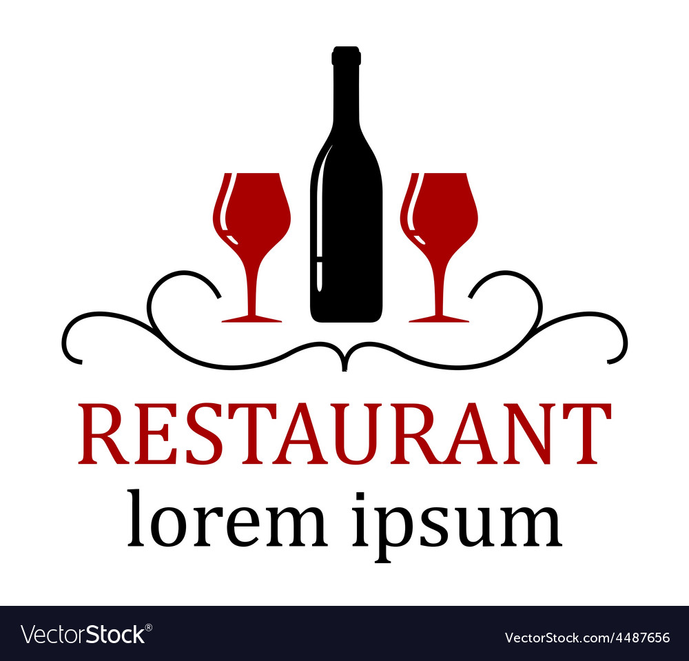 Restaurant background with wine glass and bottle vector | Price: 1 Credit (USD $1)