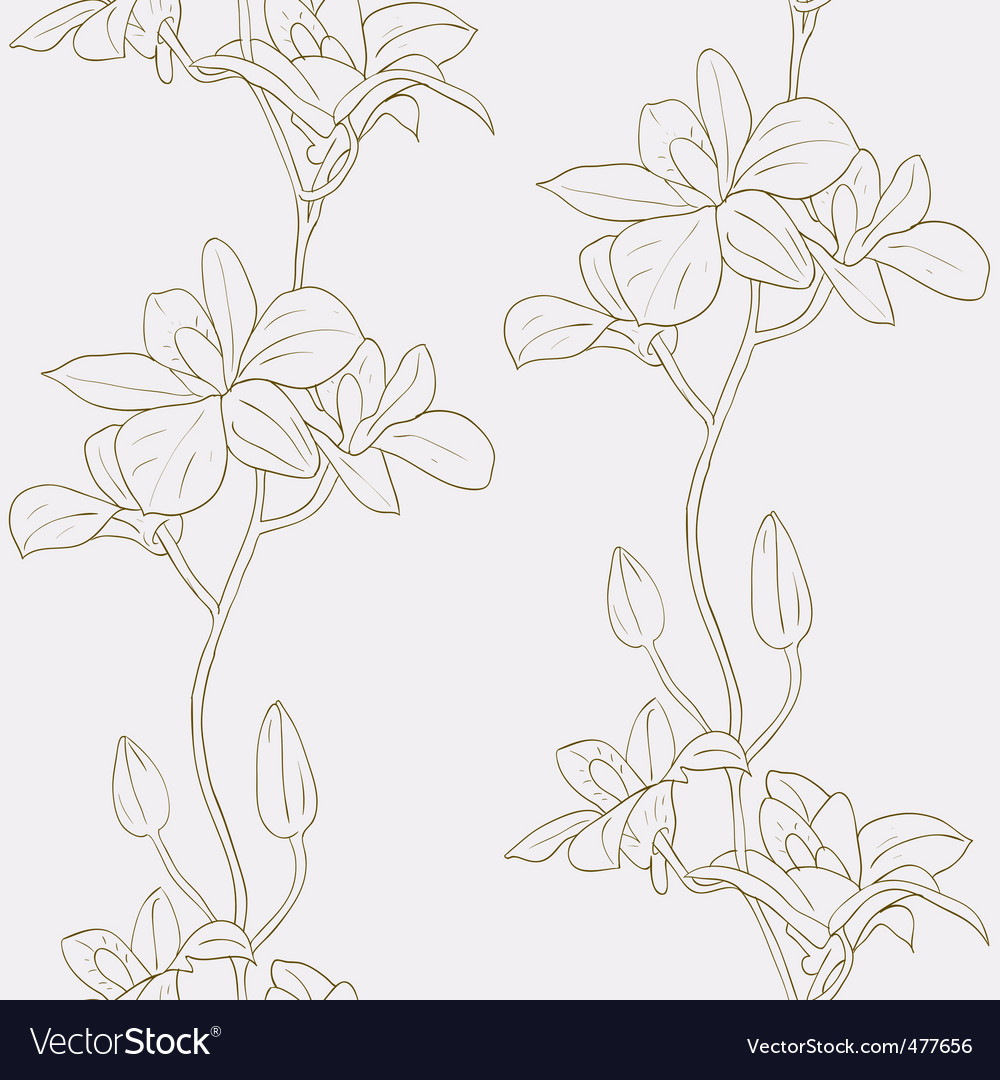 seamless background with orchids vector | Price: 1 Credit (USD $1)