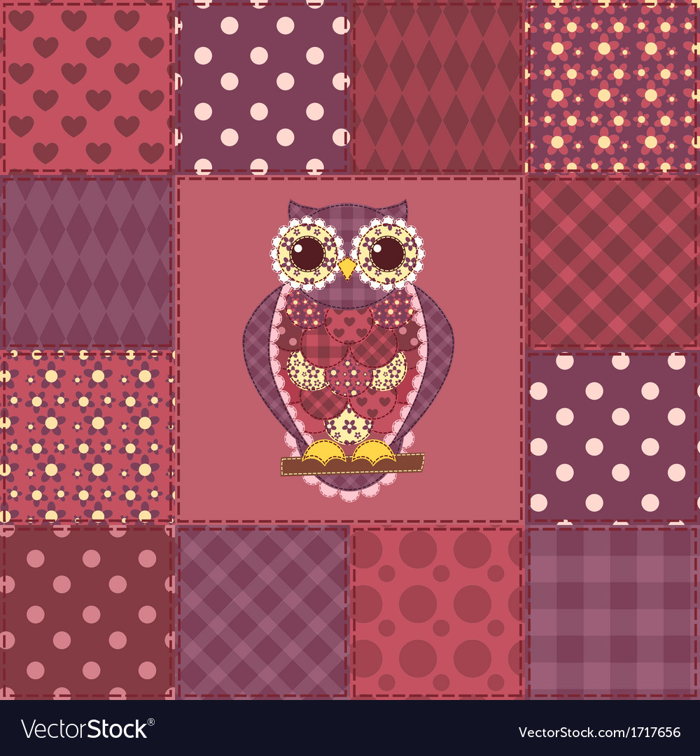 Seamless patchwork owl pattern 3 vector | Price: 1 Credit (USD $1)