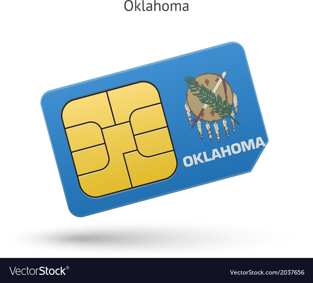 State of oklahoma phone sim card with flag vector | Price: 1 Credit (USD $1)