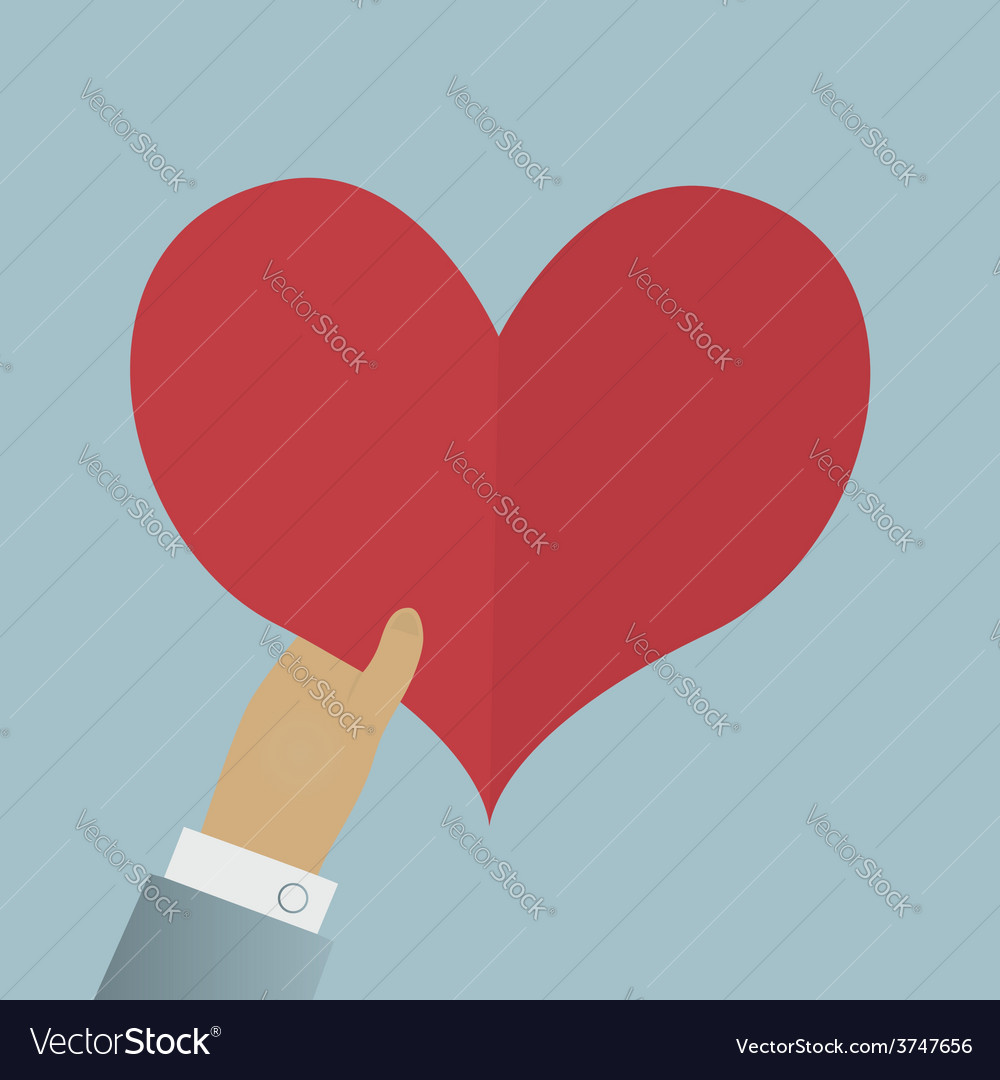 Valentine day greeting card hand give red heart vector | Price: 1 Credit (USD $1)