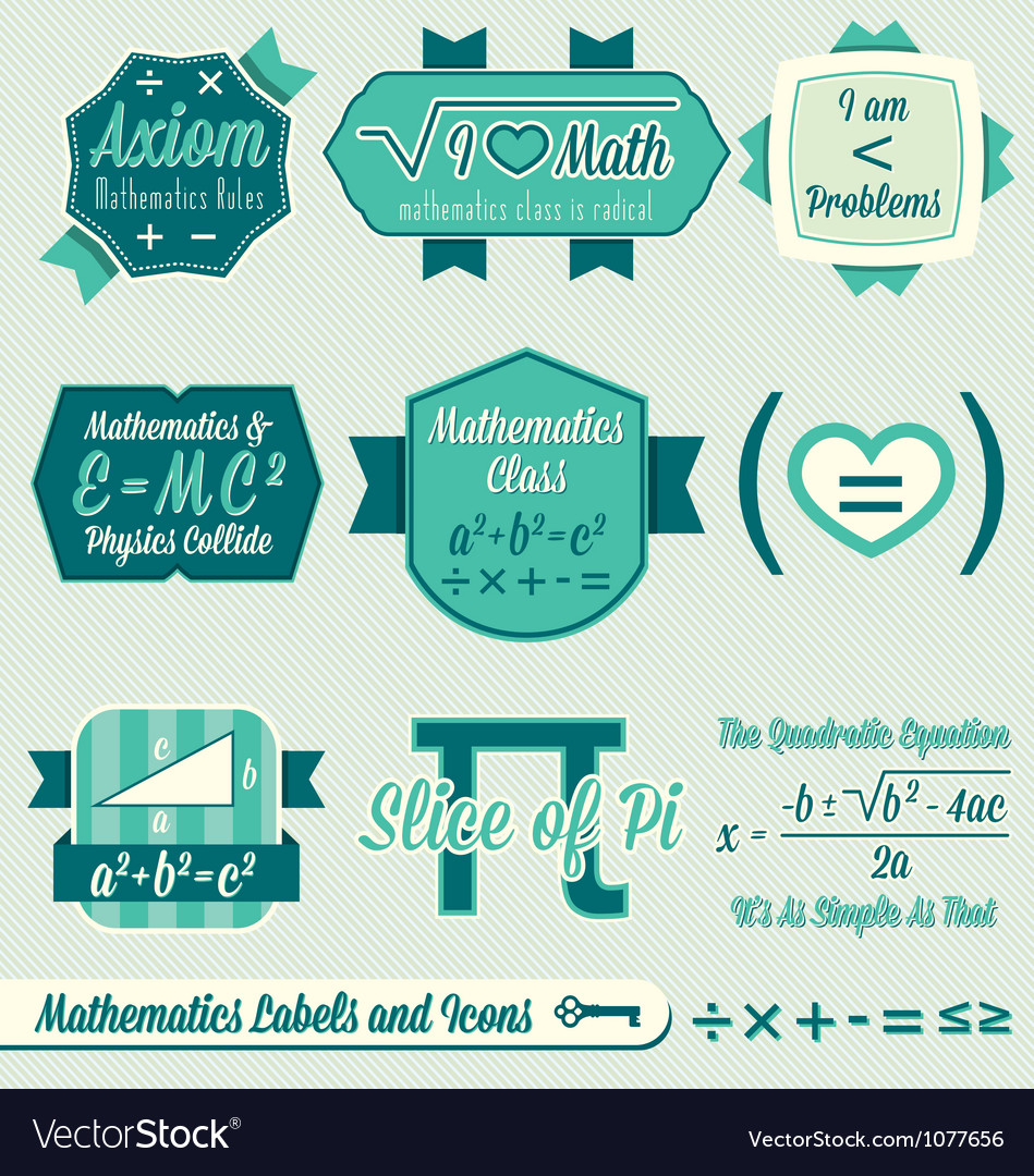 Vintage mathematics class labels and icons vector | Price: 1 Credit (USD $1)
