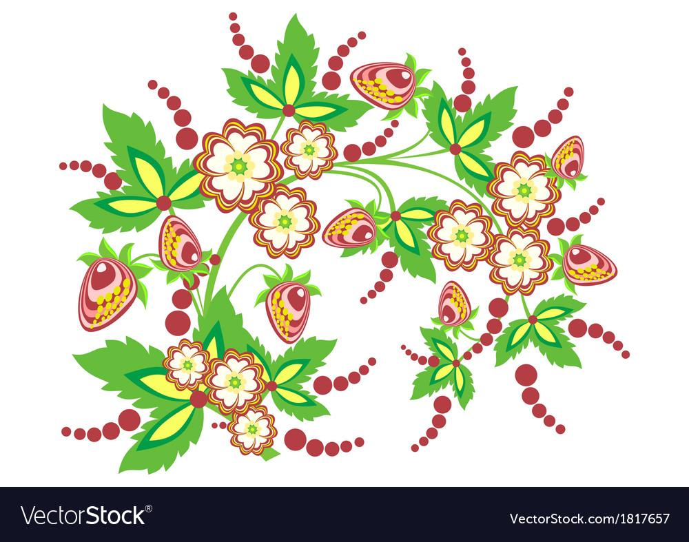 Abstract branch with flowers and strawberries vector | Price: 1 Credit (USD $1)