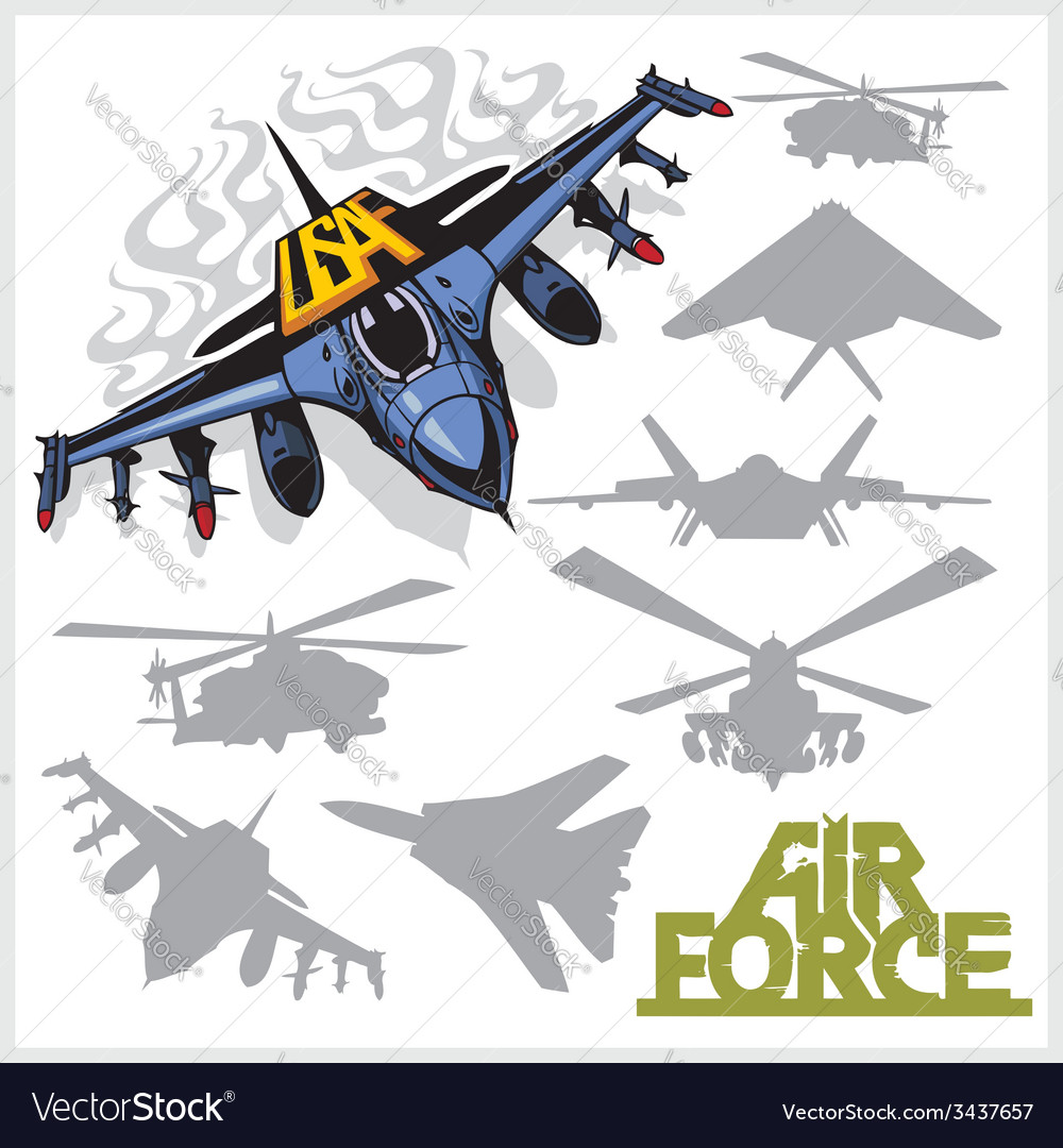 Air force - silhouettes planes and helicopters vector | Price: 1 Credit (USD $1)