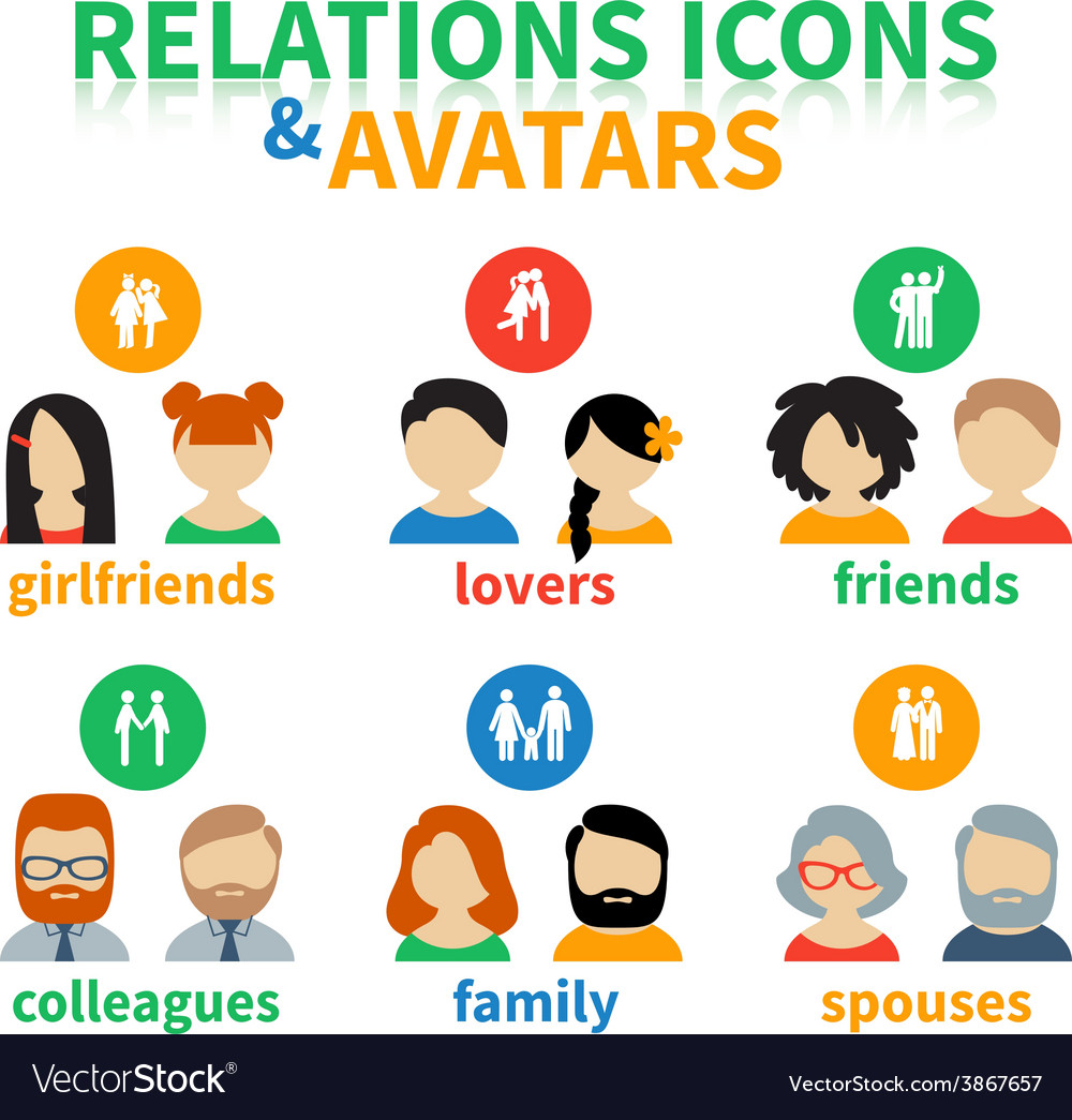 Bright icons and avatars social relations vector | Price: 1 Credit (USD $1)