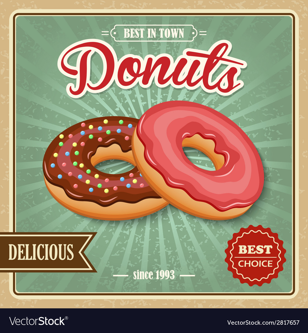 Donut retro poster vector | Price: 1 Credit (USD $1)