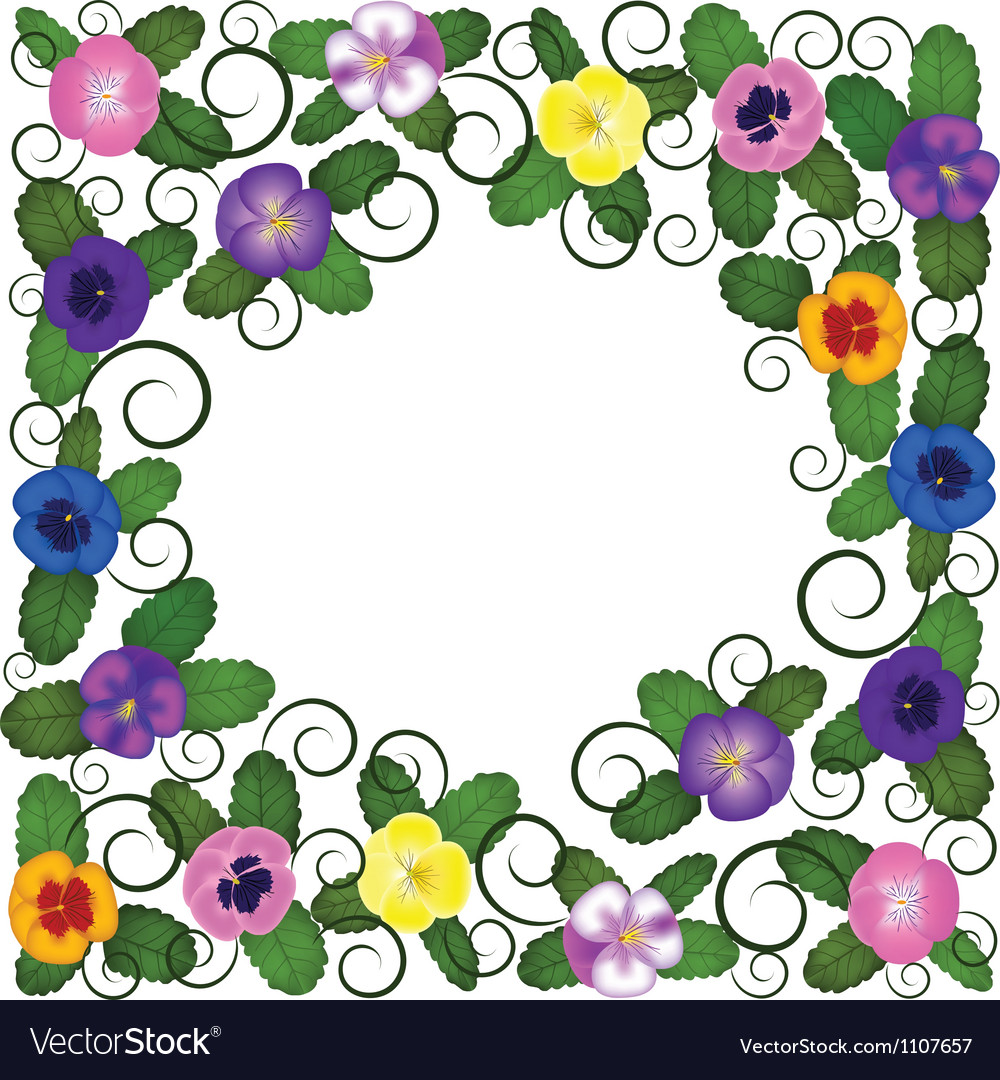 Pansies frame vector | Price: 1 Credit (USD $1)