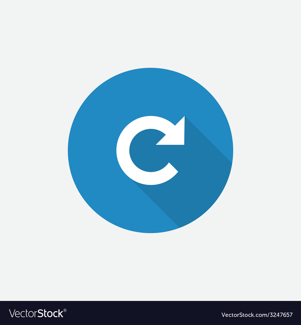 Reload flat blue simple icon with long shadow vector | Price: 1 Credit (USD $1)