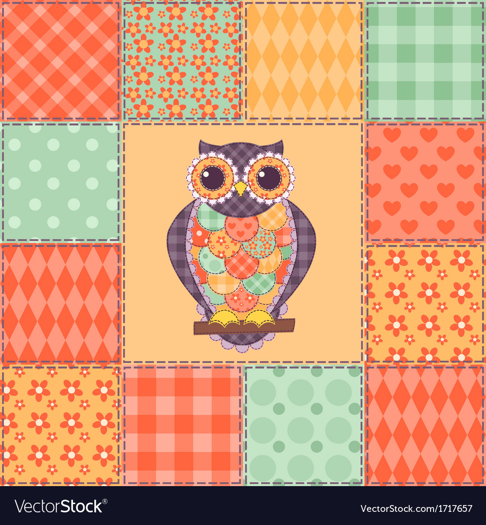 Seamless patchwork owl pattern 4 vector | Price: 1 Credit (USD $1)