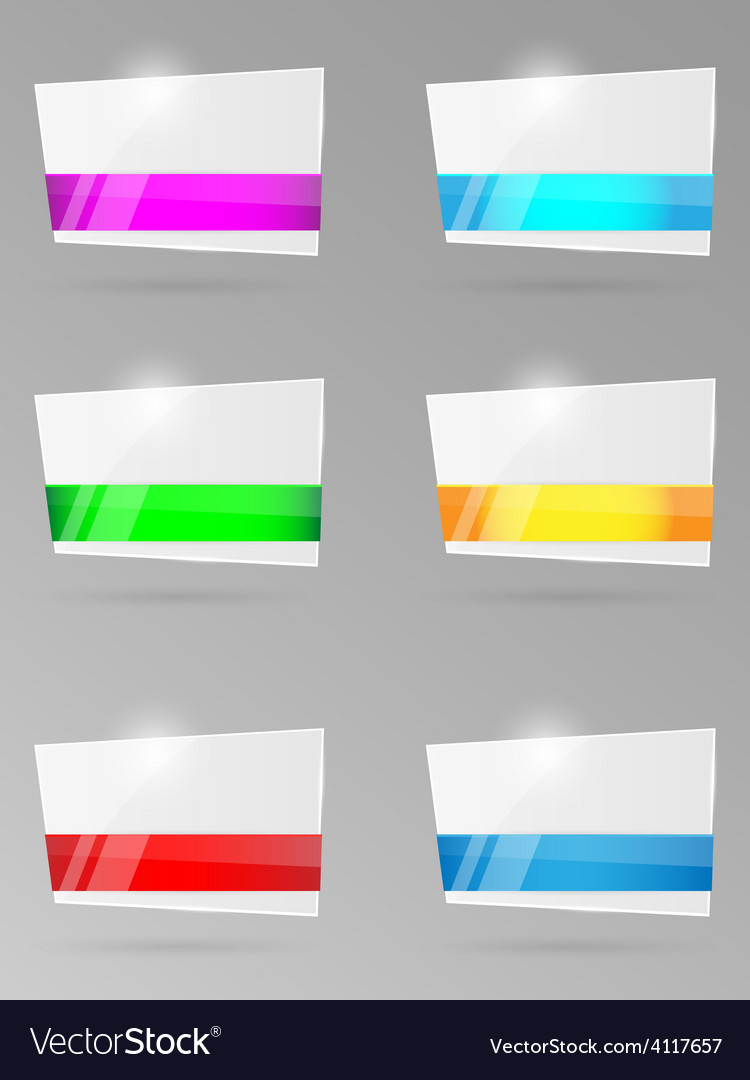 Set of paper banners with ribbon vector | Price: 1 Credit (USD $1)