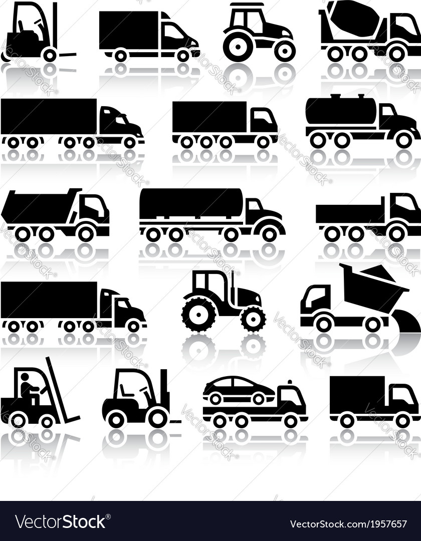Set of truck black icons vector | Price: 1 Credit (USD $1)