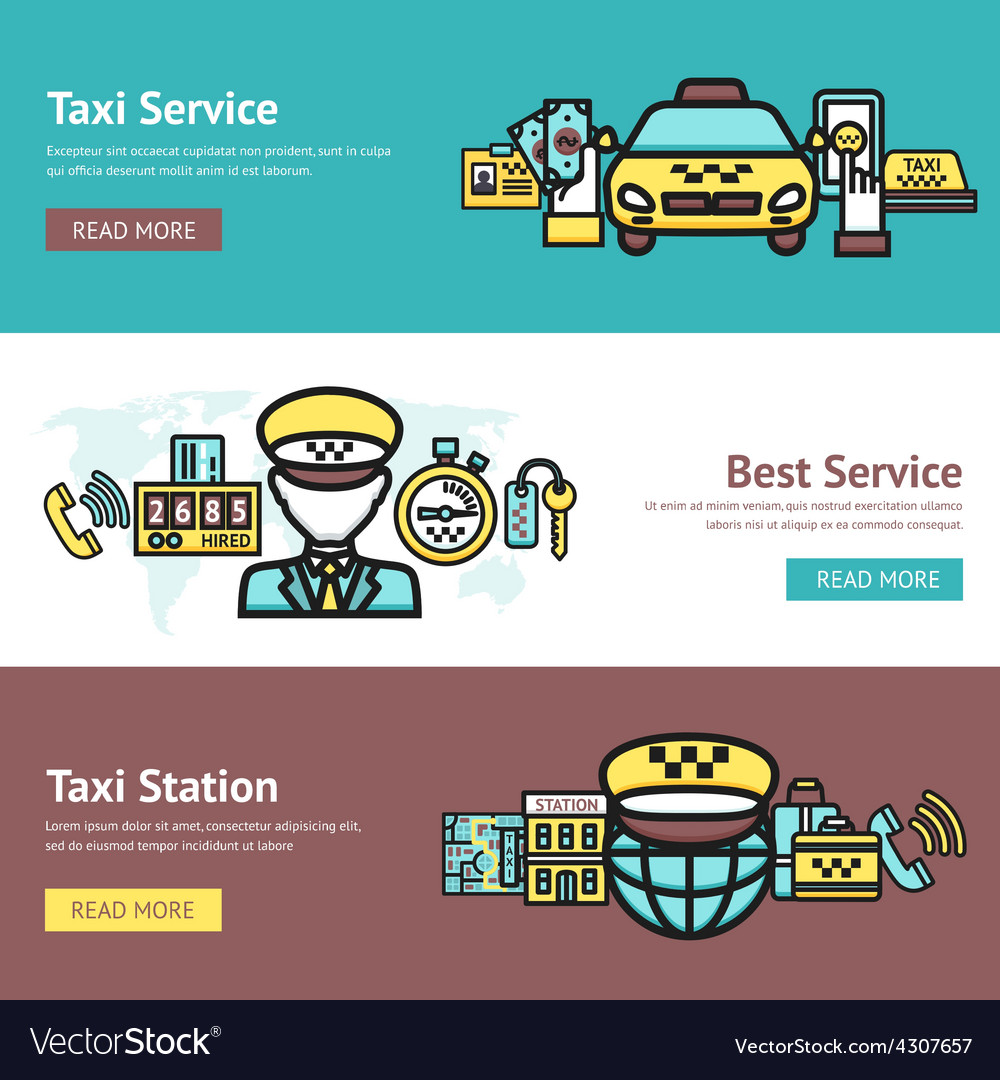 Taxi banner set vector | Price: 1 Credit (USD $1)