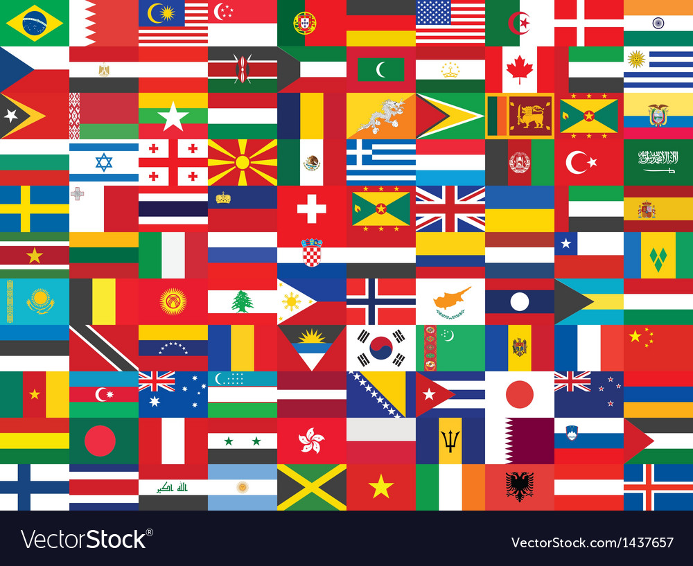 World flags background vector