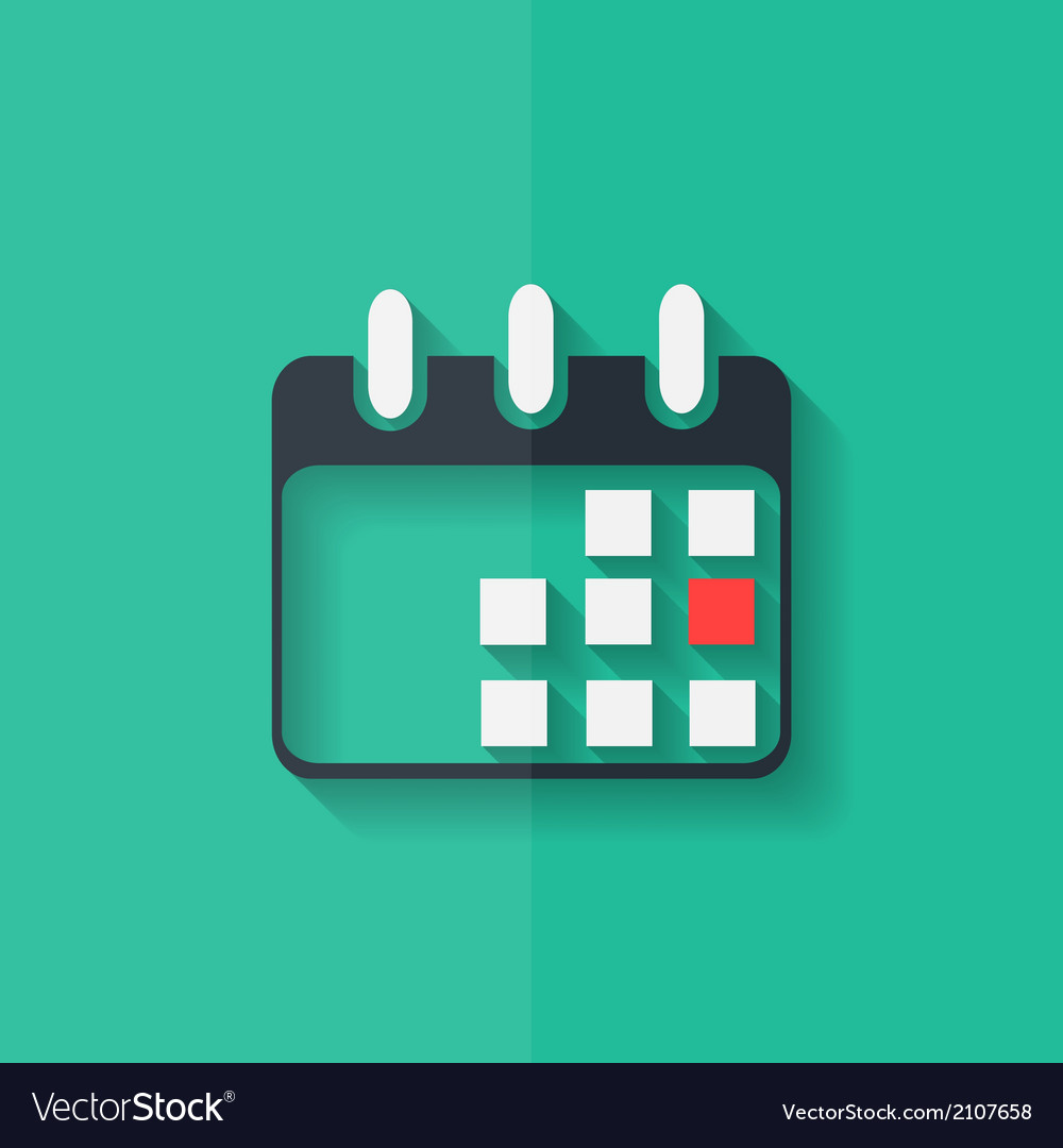 Calendar organizer icon date symbol flat design vector | Price: 1 Credit (USD $1)