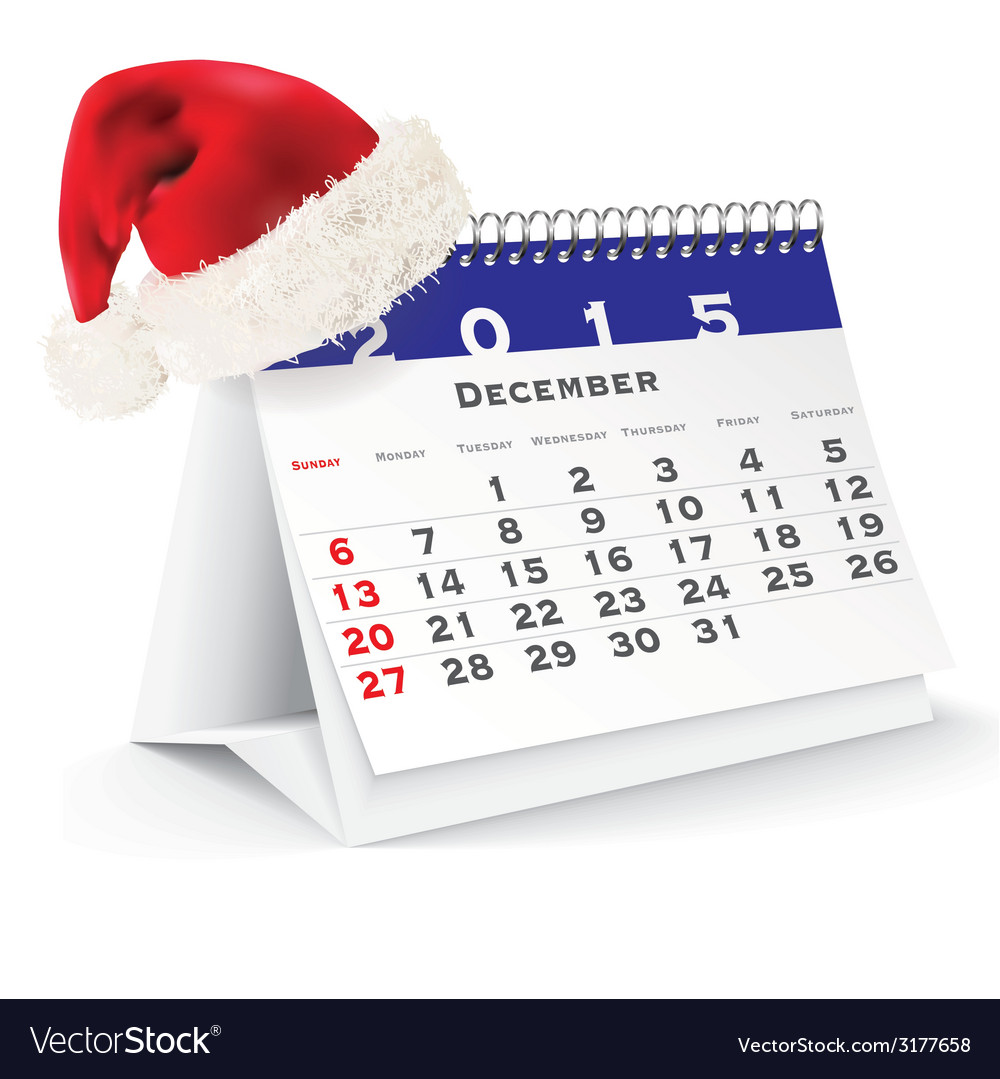 December 2015 desk calendar with christmas hat vector | Price: 1 Credit (USD $1)
