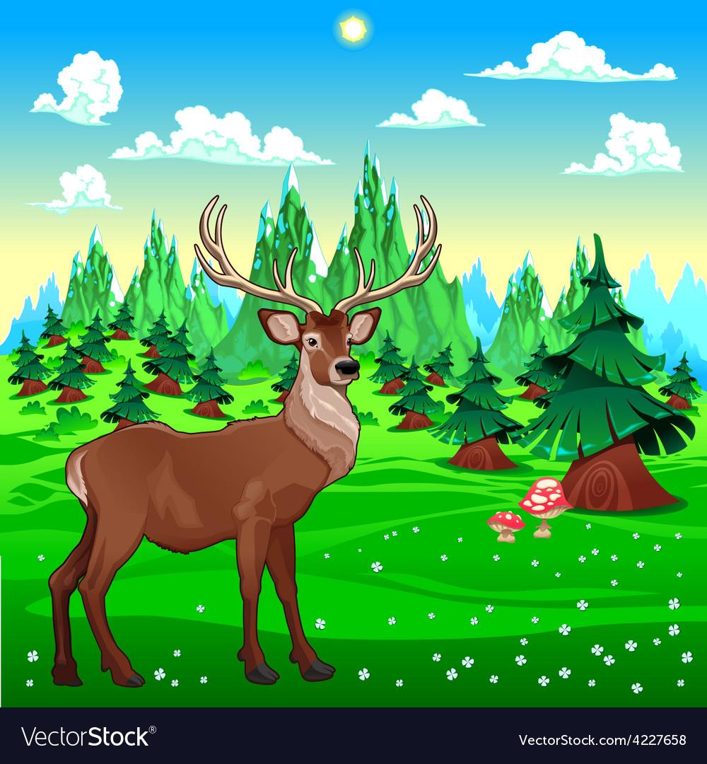 Deer in mountain landscape vector | Price: 3 Credit (USD $3)
