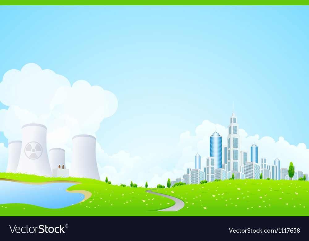 Green landscape with power plant vector | Price: 3 Credit (USD $3)