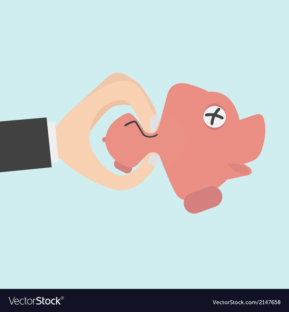 Hand squeeze piggy bank for budget management vector   Price: 1 Credit (USD $1)