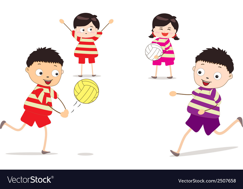 Little children playing volleyball vector | Price: 1 Credit (USD $1)