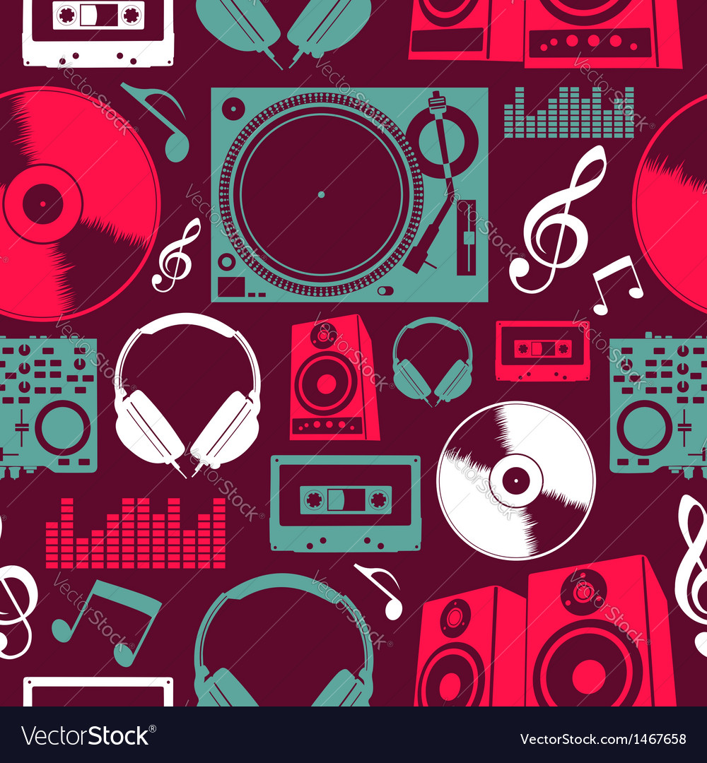 Music icons seamless pattern vector | Price: 1 Credit (USD $1)