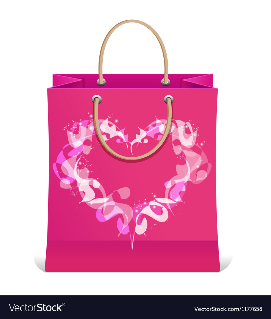 Paper shopping bag isolated and heart vector | Price: 1 Credit (USD $1)