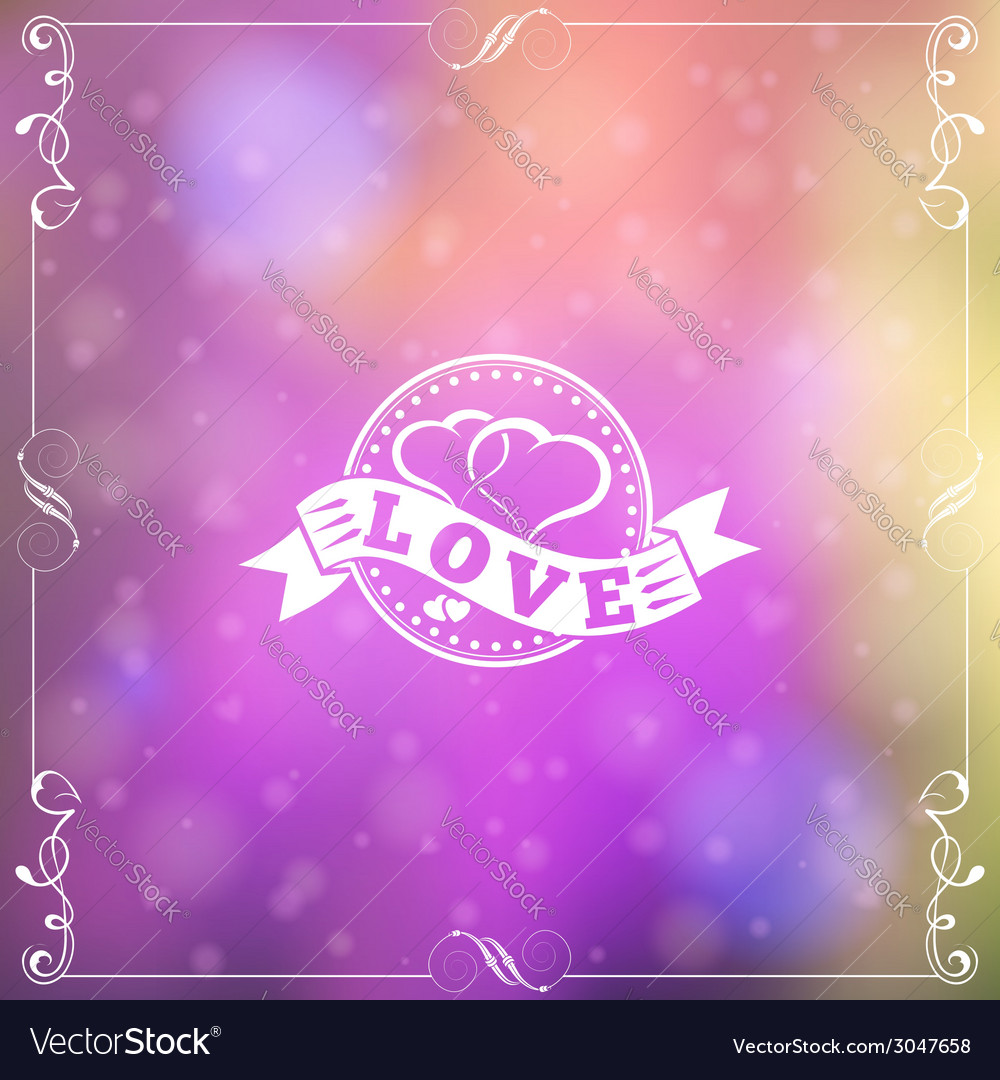 Retro love frame vector | Price: 1 Credit (USD $1)