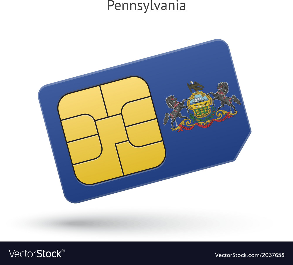 State of pennsylvania phone sim card with flag vector | Price: 1 Credit (USD $1)