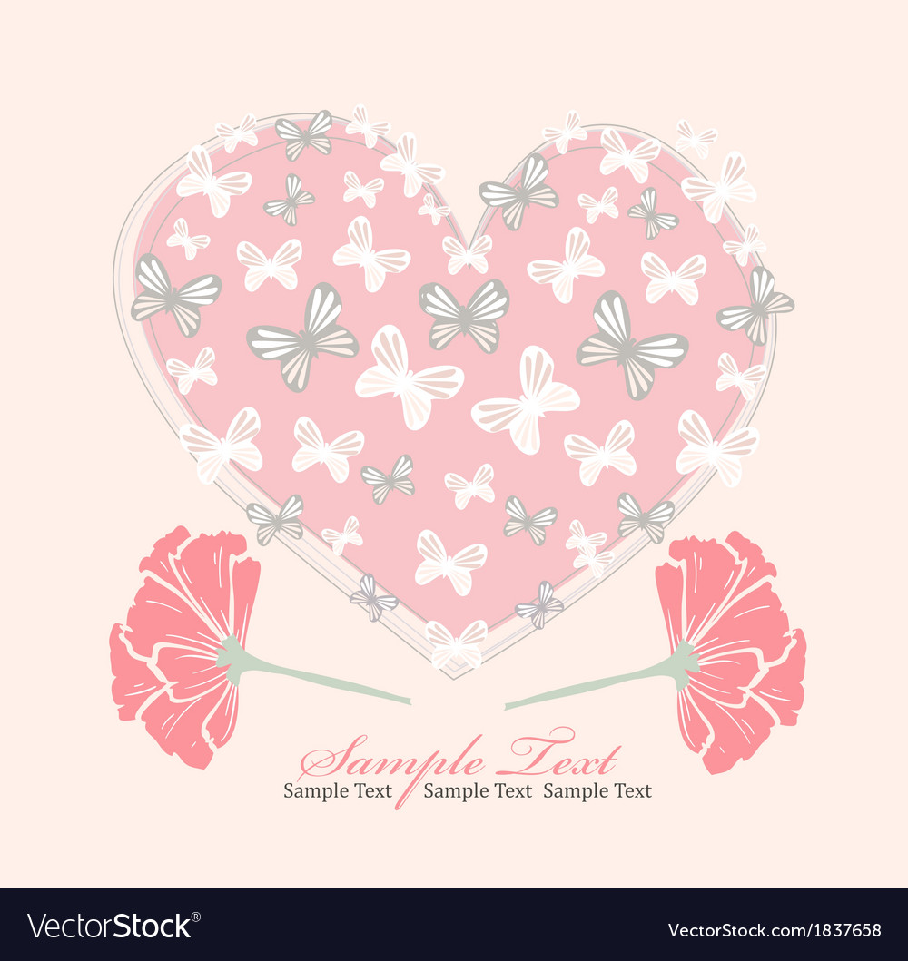 Valentines day card with heart flowers and butterf vector