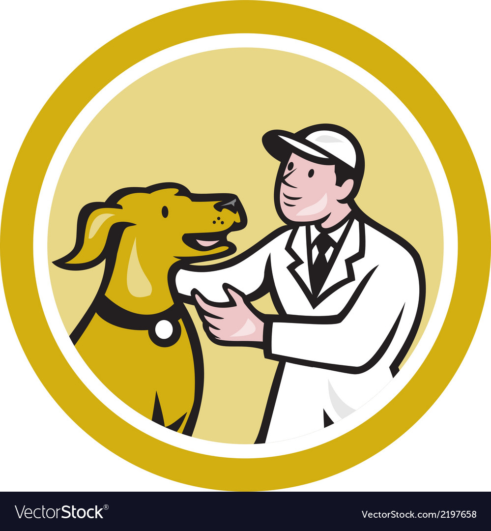 Veterinarian vet kneeling beside pet dog circle vector | Price: 1 Credit (USD $1)