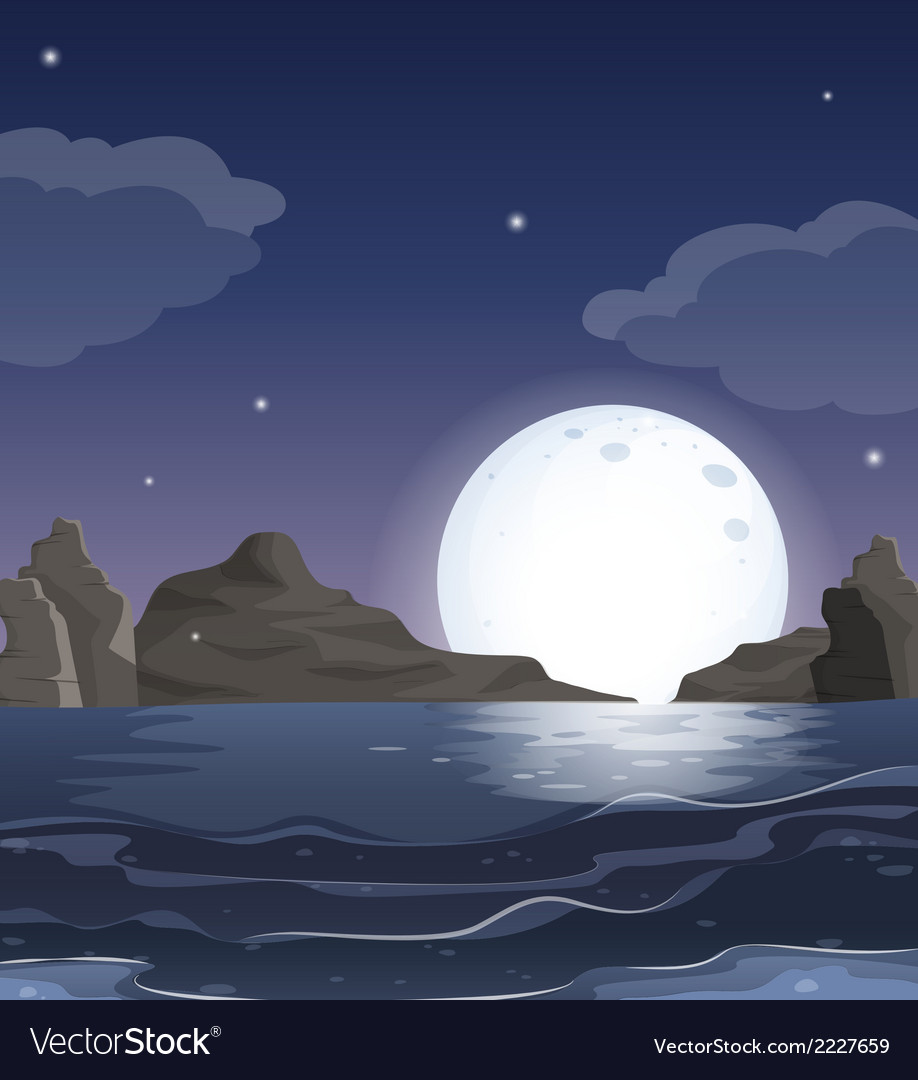A view of the ocean in the middle of the night vector | Price: 1 Credit (USD $1)