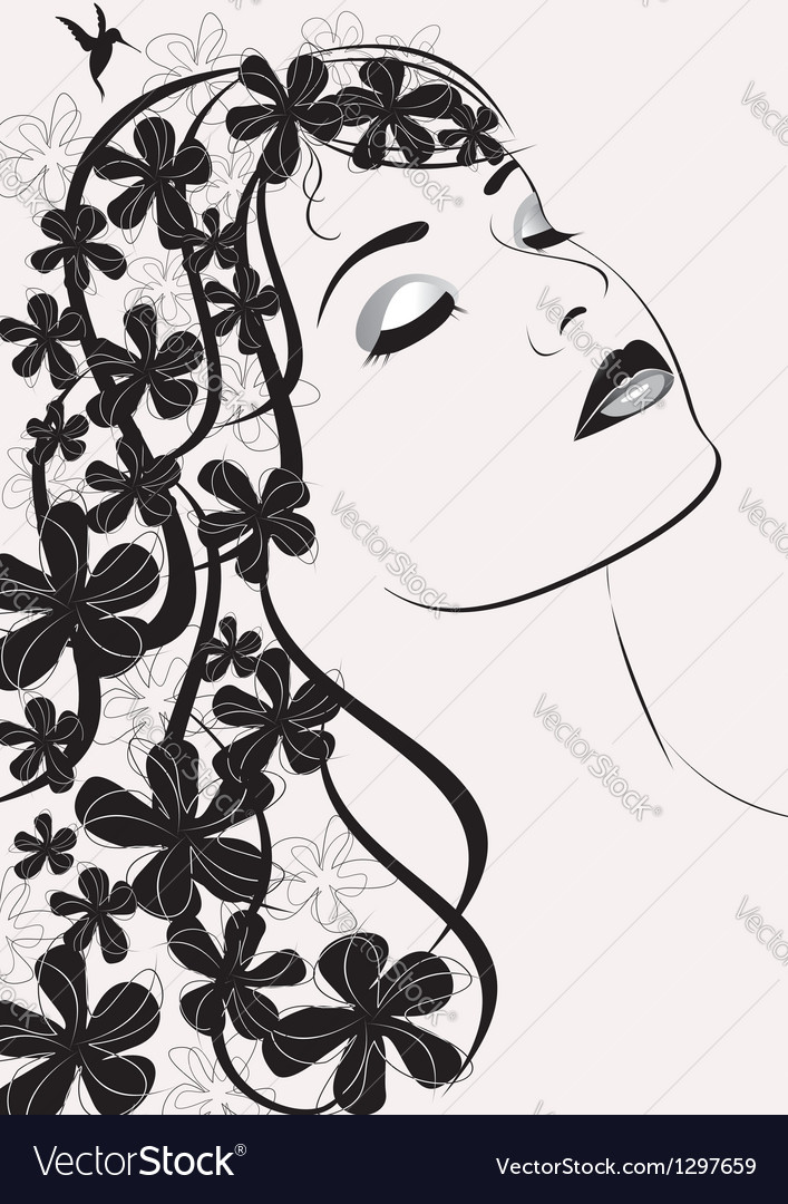 Beauty woman portrait vector | Price: 1 Credit (USD $1)