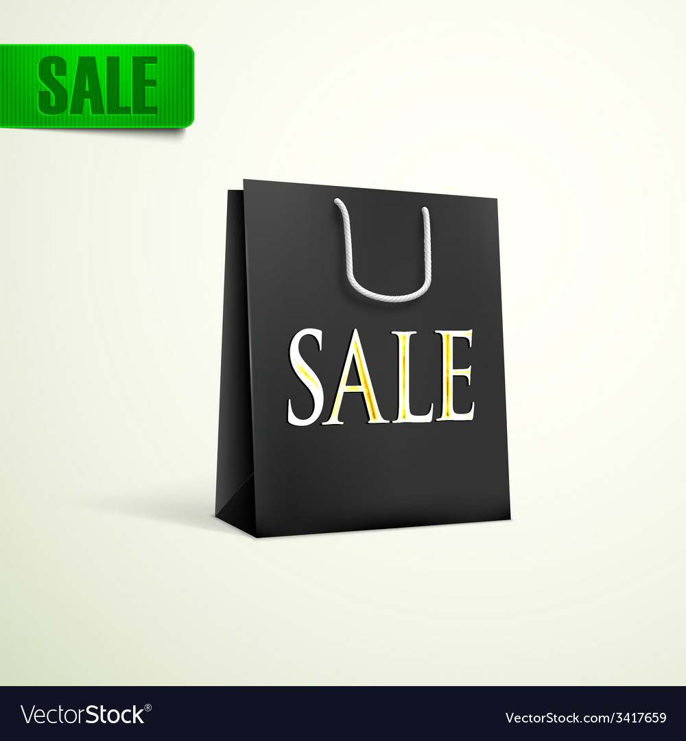 Black shopping bag sale concept vector | Price: 1 Credit (USD $1)
